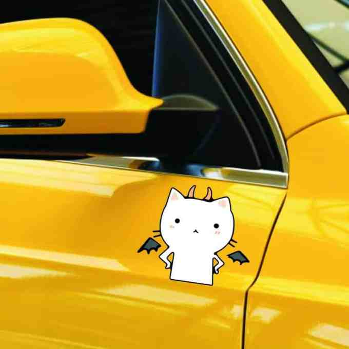 """Pegatinas para carro y coche """"Lindo Gato VS Devil Angel"""""""