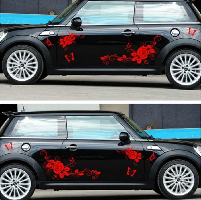 """Pegatinas para carro y coche """"Rosas y Mariposas"""""""