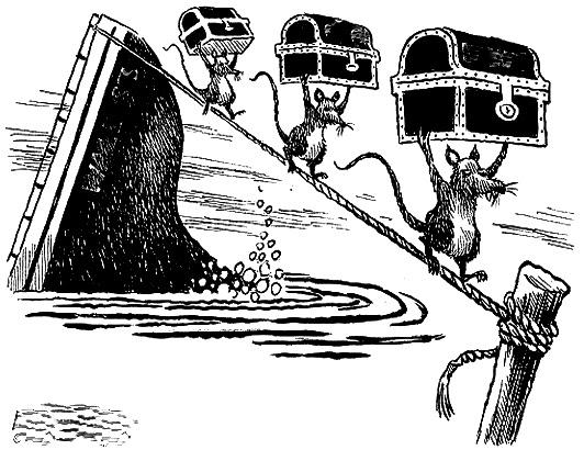 ratas abandonan barco, dibujo