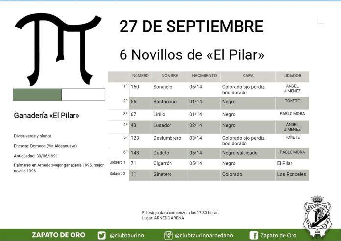 Cartel de la Feria Taurina de Arnedo del 27 de septiembre de 2017