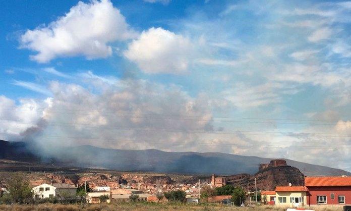 Incendio forestal entre Arnedo y Bergasa