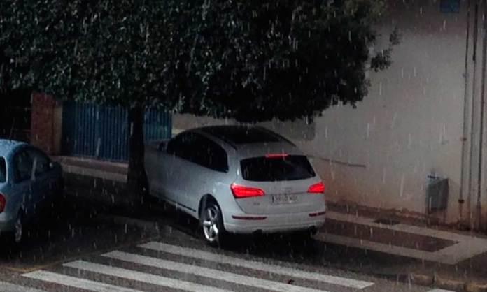 Vehículo refugiándose bajo un árbol en Arnedo