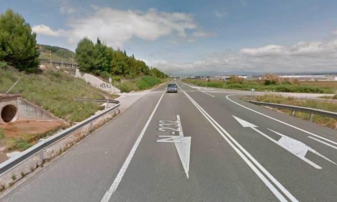 Zona de la N-232 donde se ha registrado el accidente