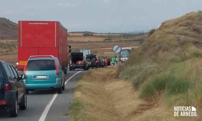 Zona de la LR-134 donde se ha registrado un accidente de tráfico entre Arnedo y Calahorra