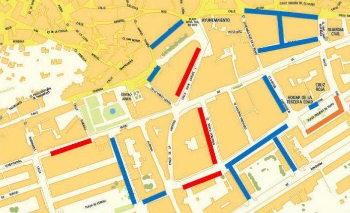 Mapa temporal de las zonas de estacionamiento regulado durante la peatonalización del centro de Arnedo