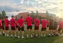 Plantilla del CD Arnedo en un entrenamiento de la temporada 2019/2020
