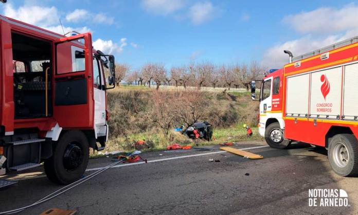 Bomberos del CEIS Rioja en accidente en LR-123 (Tudelilla)