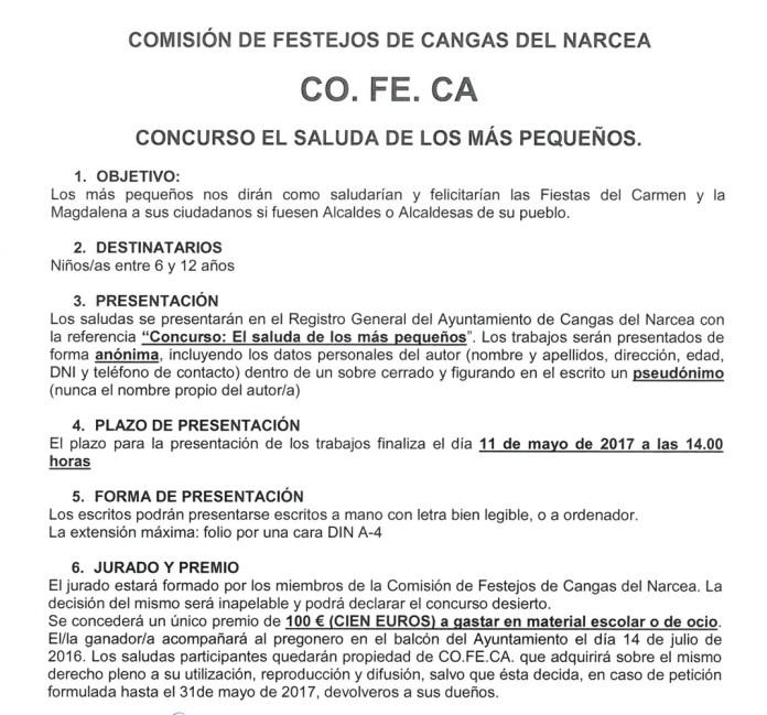 Concurso Saluda infantil El Carmen Cangas del Narcea