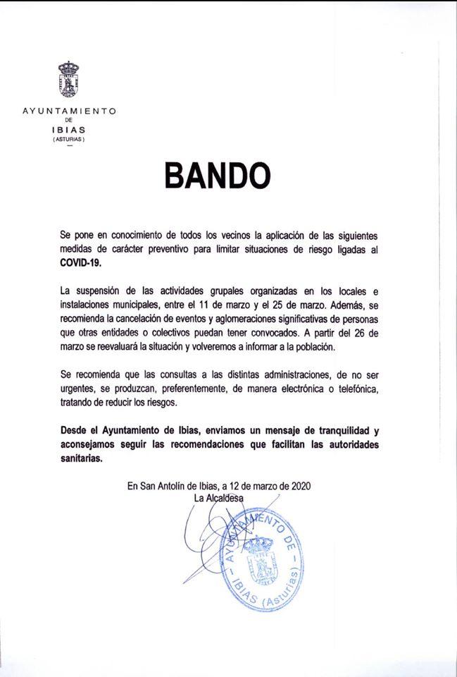 Bando Ayuntamiento de Ibias 12/03/2020 1