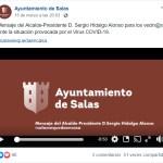 Mensaje del alcalde de Salas a los vecinos 15/03/2020