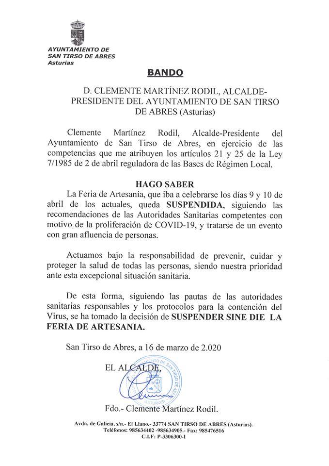 Suspendida la Feria de Artesanía de San Tirso de Abres 3