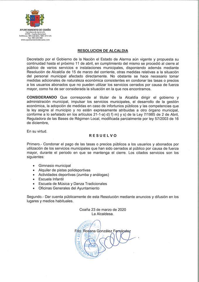 Cancelación de cuotas en servicios cerrados al público en Coaña 3