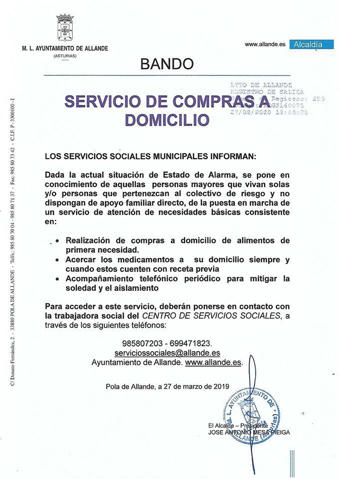 Servicio de atención de necesidades básicas en Allande por el COVID19 3