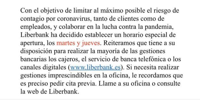 Aviso: Cierre parcial oficina Liberbank en Boal 3