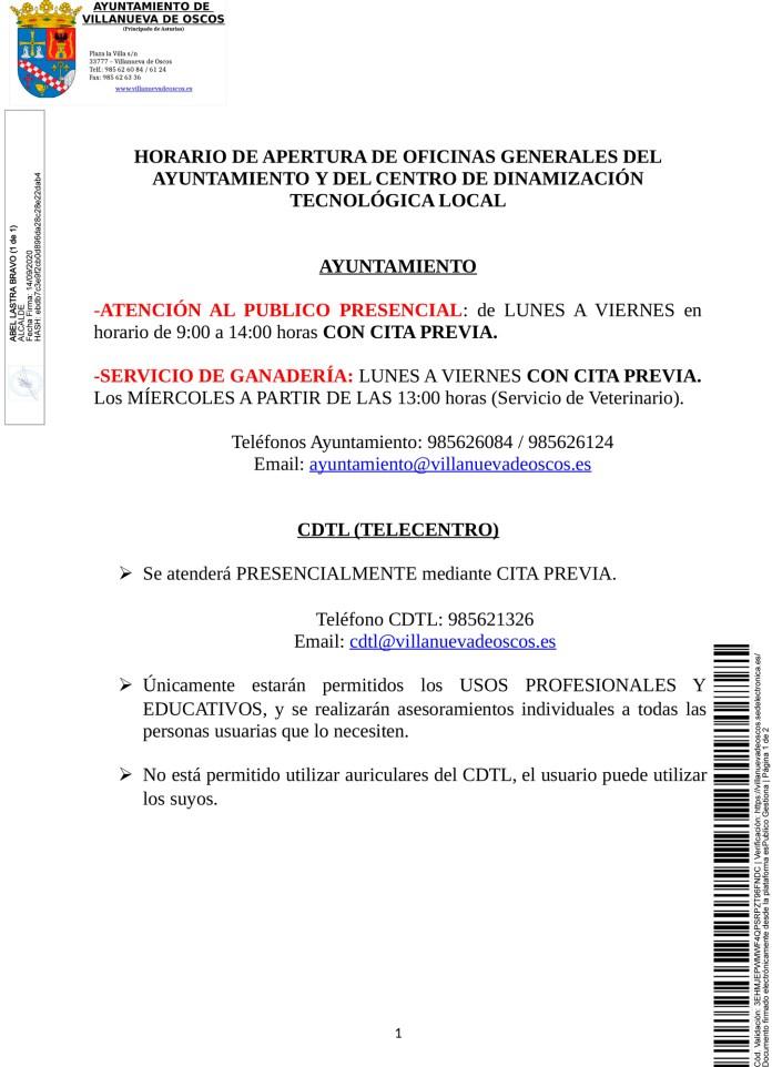 Horarios atención Ayuntamiento y CDTL 3