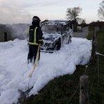 Un incendio calcina un vehículo en Piedratecha, en Tineo