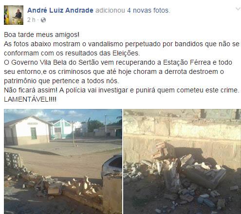 Prefeito de Queimadas usou rede social para acusar e xingar oposição após acidente   Foto: Reprodução/Facebook