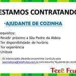OPORTUNIDADE DE EMPREGO – Super Terê Frutas está contratando ajudante de cozinha
