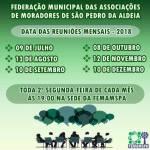 SÃO PEDRO DA ALDEIA – Federação Municipal das Associações de Moradores de São Pedro da Aldeia divulga calendário de reuniões 2018