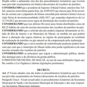 REGIÃO DOS LAGOS – Prefeitura de Macaé suspende licitações até STF definir futuro dos royalties