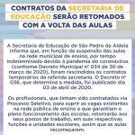 Contratos da Secretaria de Educação de São Pedro da Aldeia serão retomados com a volta das aulas