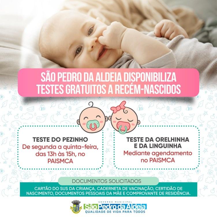 São Pedro da Aldeia disponibiliza testes gratuitos a recém-nascidos
