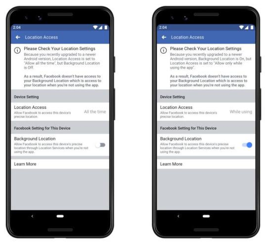 Facebook localização 2 - Facebook afirma que a sua aplicação funciona melhor no Android 10 e iOS 13 com a localização activa