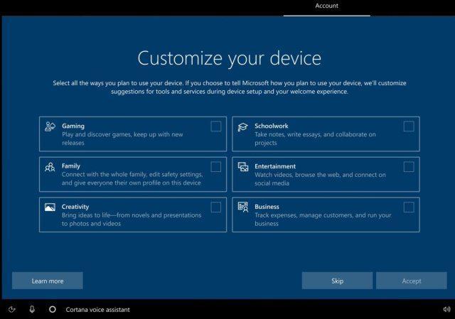 Windows 10 configuração