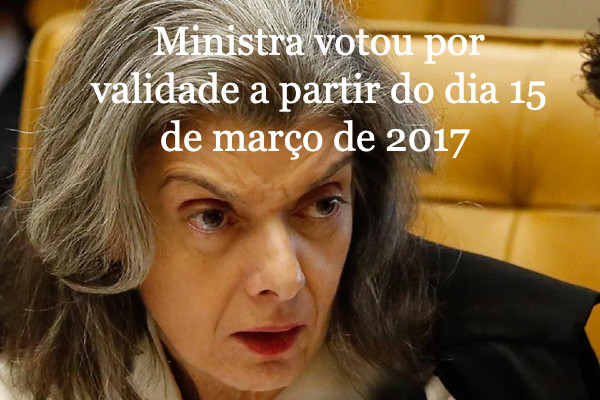 Ministra Cármen Lúcia vota para exclusão do ICMS do PIS/Cofins valer a partir de 2017