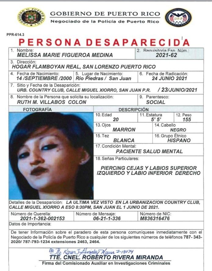 La joven de 20 años se encuentra desaparecida desde el 1 de junio cuando fue vista por última vez en la urbanización Country Club, en Río Piedras.