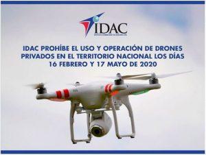 El IDAC prohíbe uso y operación de drones privados en días de las elecciones
