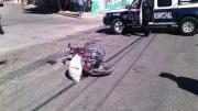 Por falta de precaución motociclista provocó accidente