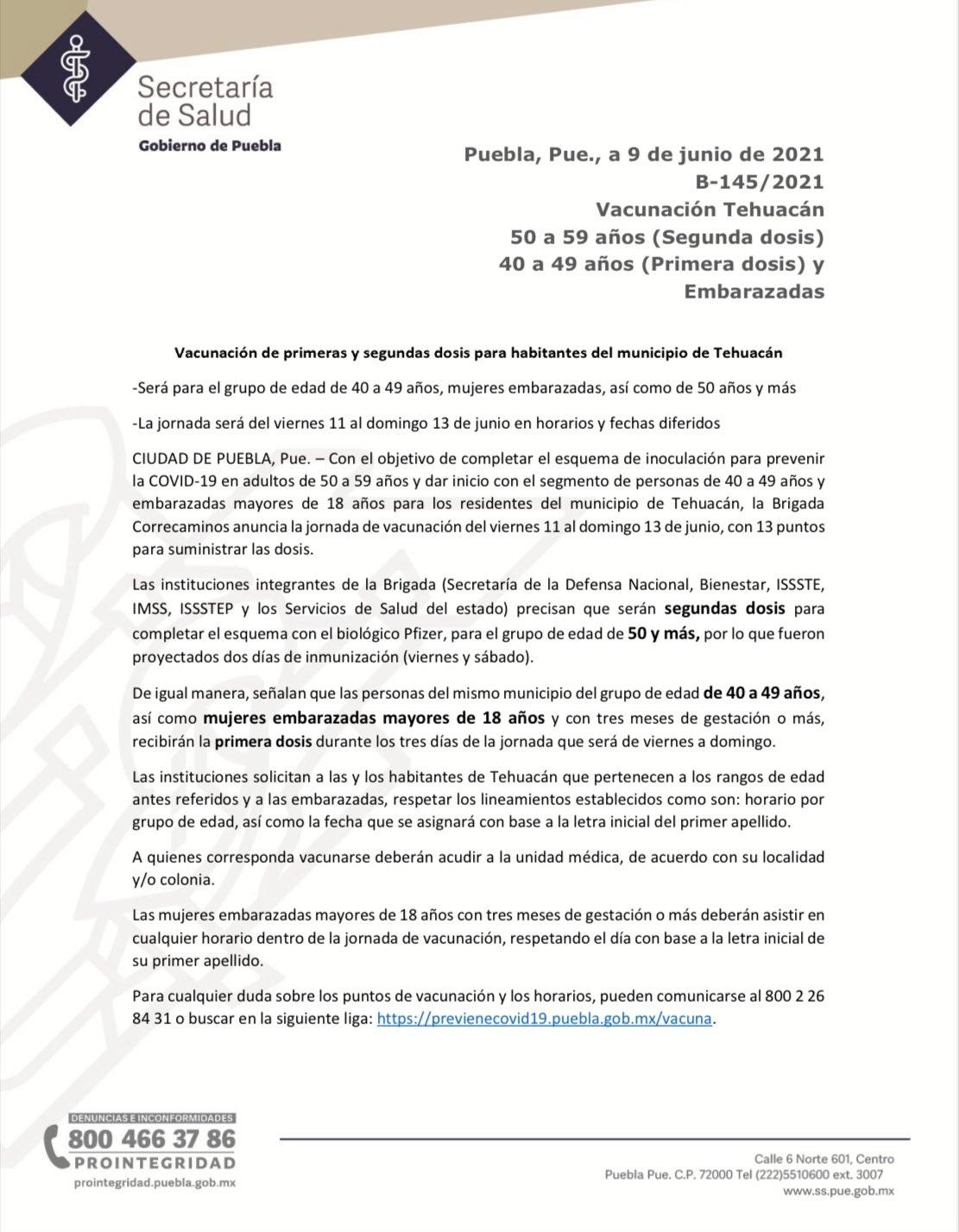 CENTROS DE VACUNACIÓN CONTRA COVID Y LUGARES QUE ATENDERÁN EN TEHUACÁN A PARTIR DEL VIERNES 11 DE JUNIO