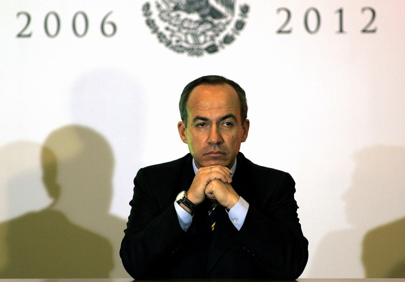 Felipe Calderón Hinojosa, ex presidente de México, en una conferencia.