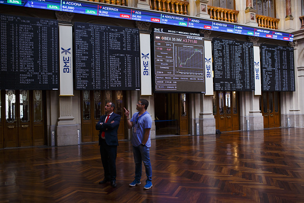 Pizarra de la Bolsa de Madrid (Getty Images)