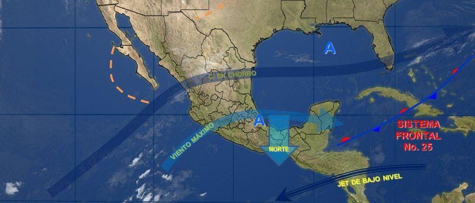 Mapa con el pronóstico del clima para este 31 de enero; el ambiente frío sigue en gran parte de México. (Twitter/@conagua_clima)