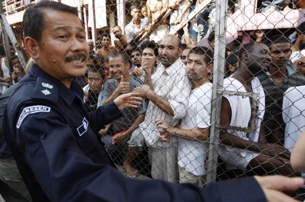 Detenidos en el centro de Migración Lenggeng en Malasia.
