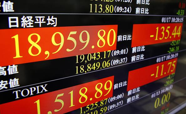 Información de la Bolsa de Tokio (Getty Images)