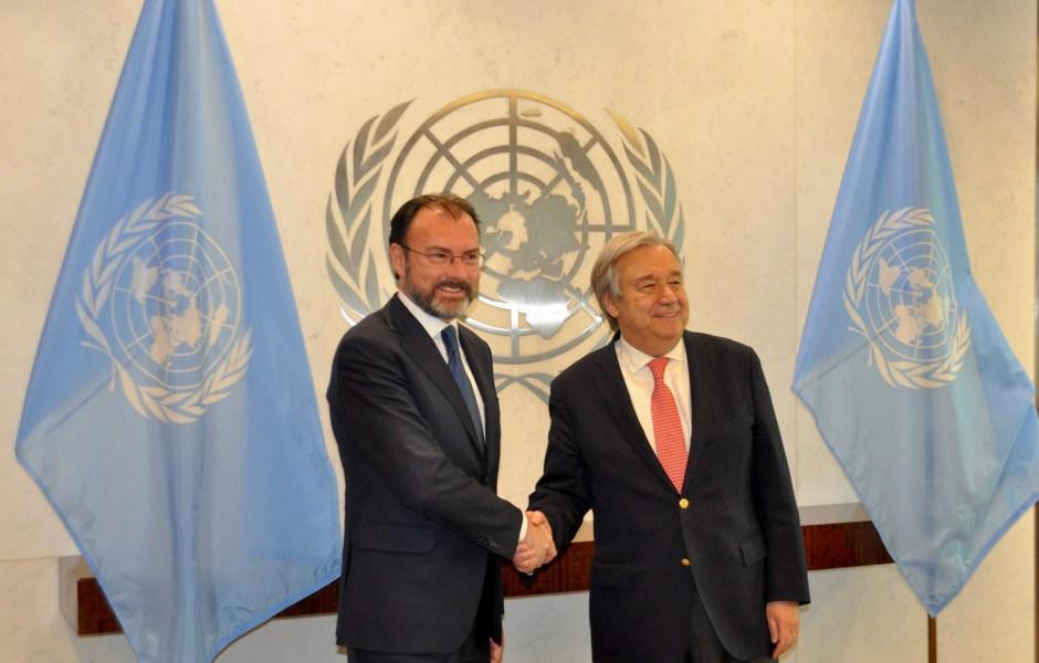 El secretario de Relaciones Exteriores, Luis Videgaray Caso, se reunió en Nueva York con el secretario general de la Organización de las Naciones Unidas (ONU), António Guterres. (Notimex)