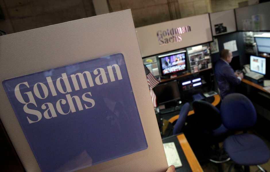 Stand de Goldman Sachs en el piso de remates de la Bolsa de Nueva York (AP)