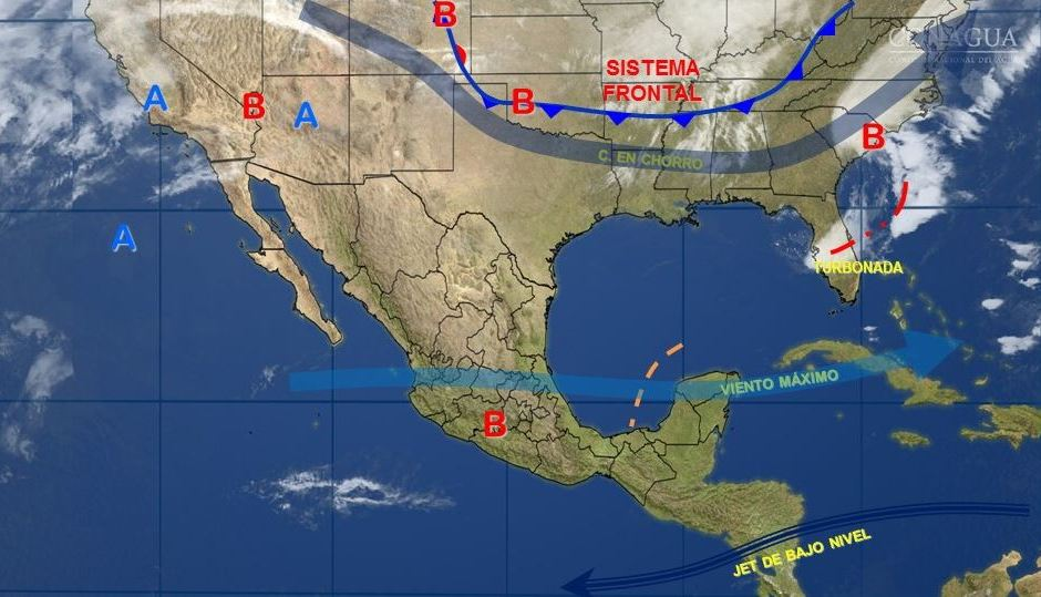 Mapa del Servicio Meteorológico Nacional donde se pronostica un ambiente cálido; un nuevo frente frío se acerca al norte de México