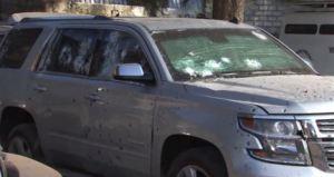 Camioneta baleada en casa donde fue abatido 'El H2' en Nayarit. (Noticieros Televisa)
