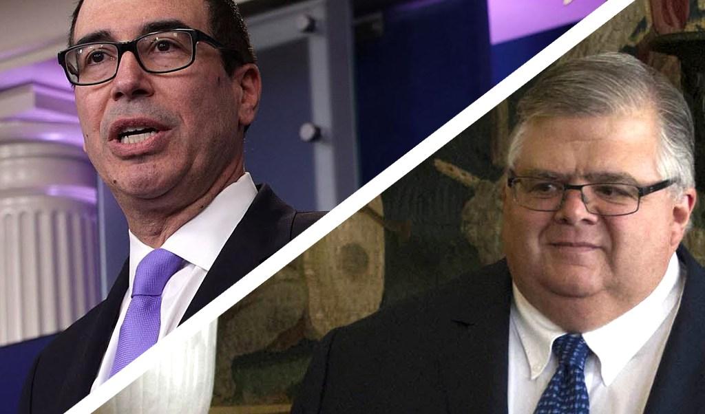 En la imagen, el secretario del Tesoro de Estados Unidos, Steven Mnuchin y el gobernador del Banco de México (Banxico), Agustín Carstens (Noticieros Televisa)