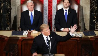 El presidente Donald Trump ofrece mensaje ante el Congreso de Estados Unidos.