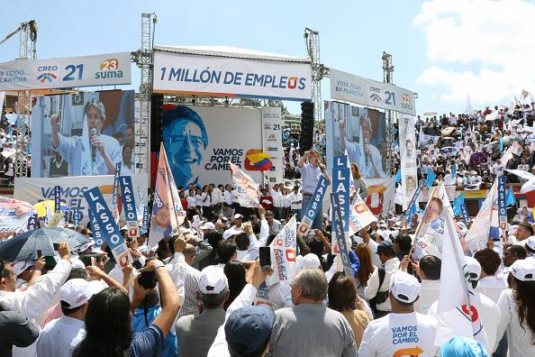 Guillermo Lasso, candidato presidencial a la alianza Creo-SUMA, durante su campaña electoral en Quito, Ecuador (Getty Images)