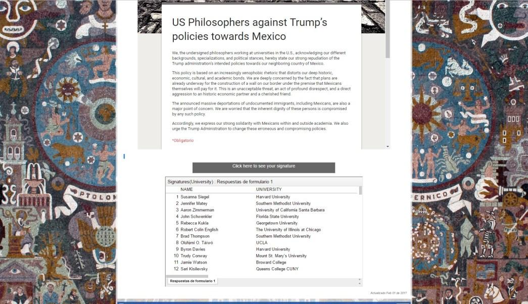 Texto de académicos de Estados Unidos publicado en el portal del Instituto de Investigaciones Filosóficas de la UNAM; manifiestan su rechazo a las políticas de Donald Trump