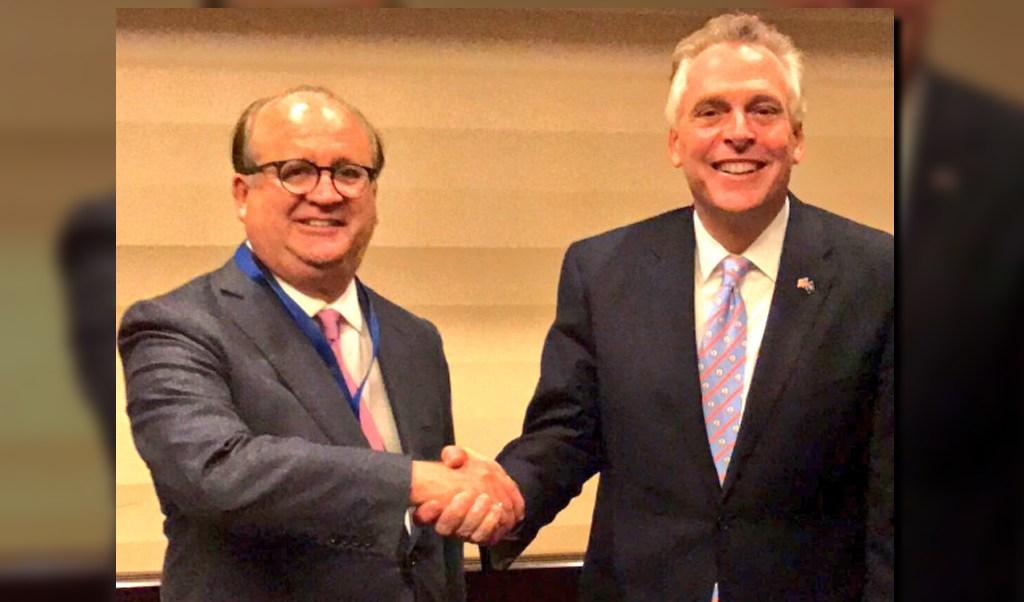 Graco Ramírez, presidente de la Conago, y Terry McAuliffe , gobernador de Virginia, EU. (@gracoramirez)