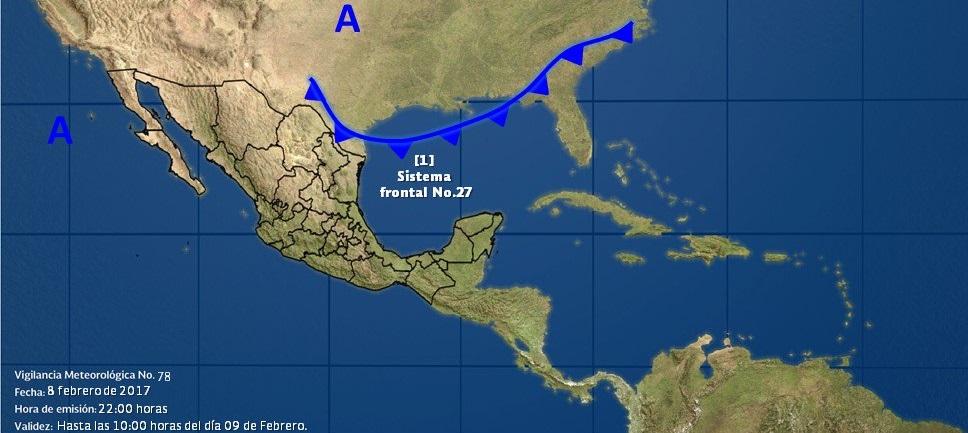 La masa de aire frío asociada favorecerá un refrescamiento de las temperaturas en el norte y noreste de la República Mexicana