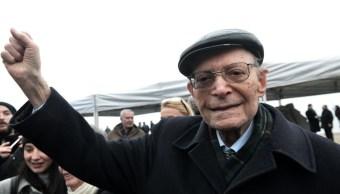 Heinz Kounio, sobreviviente del Holocausto durante la más reciente conmemoración de la persecución al pueblo judío.