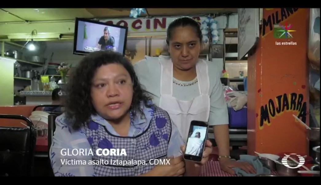 Gloria Coria, dueña de una cocina económica en Iztapalapa, también fue víctimas de 'La Gotera'. (Noticieros Televisa)